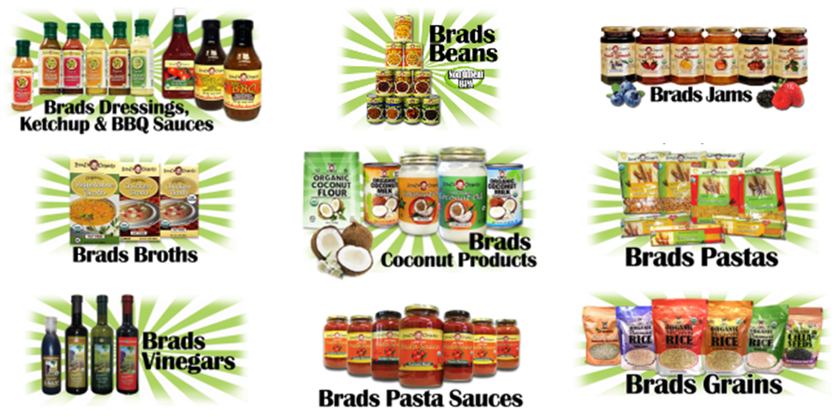 Dressings, Ketchup,  BBQ Sauces, Jams, Broths, Coconut Products, Pastas, Vinegars, Pasta Sauces, Grains